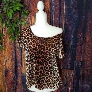 Holly Hock Lucky Brand Leopard Print Velvet Blouse